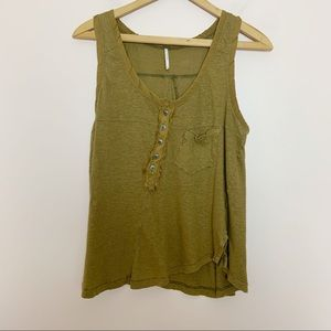 Free People Rust Linen Flowy Sleeveless Top